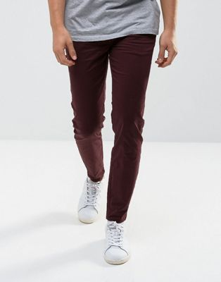 River Island Super Skinny Chino In Burgundy