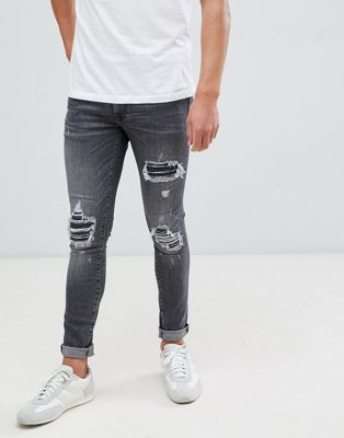 River Island super skinny jeans with rips in washed black