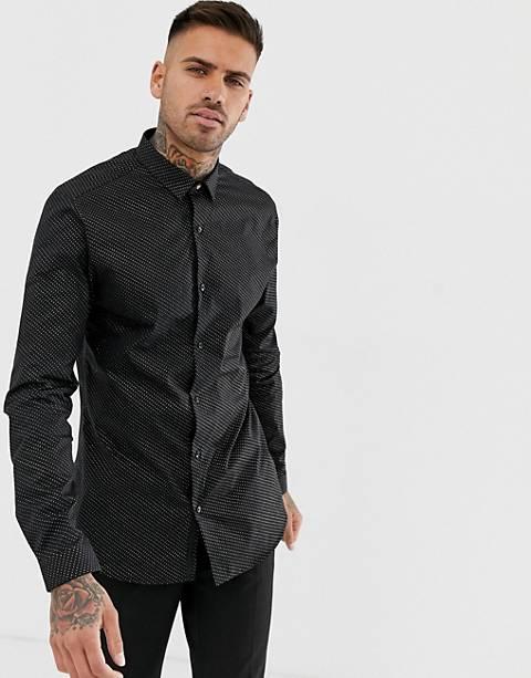 River Island – Svart skjorta med smal passform och glittriga prickar