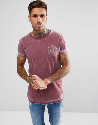 River Island T-Shirt With Revolution Print In Burnout Red