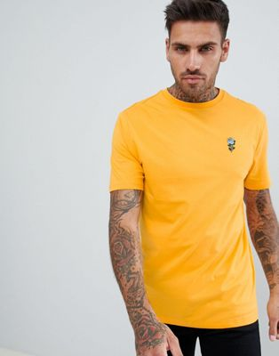 River Island T-Shirt With Swallow Embroidery In Yellow