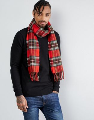 River Island Tartan Check Scarf In Red