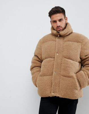 River Island teddy Puffer in brown borg