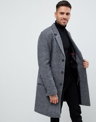 River Island textured overcoat in grey