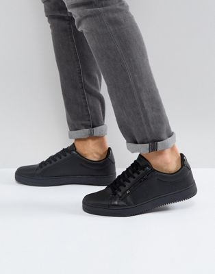 River Island Textured Sneakers With Zip Detail In Black