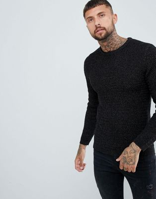River Island textured sweater in black marl