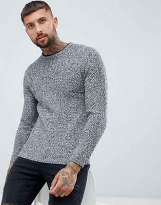 River Island textured sweater in gray marl