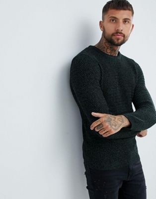 River Island textured sweater in green marl