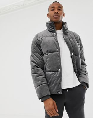 Image 1 of River Island velvet puffer jacket in grey
