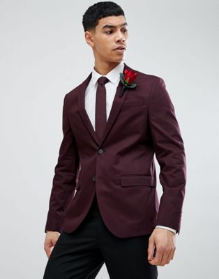 River Island Wedding Skinny Blazer In Burgundy