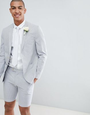 River Island Wedding Skinny Fit Blazer In White Stripe