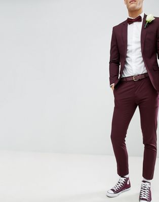 River Island Wedding Skinny Fit Suit Trousers In Burgundy