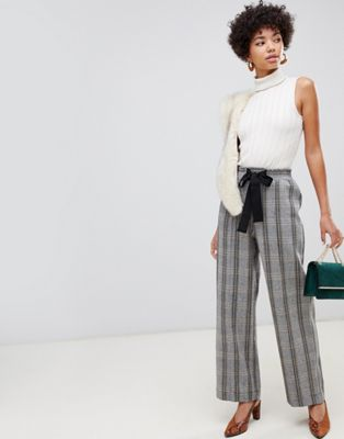 Image 1 of River Island wide leg pants with tie waist in check