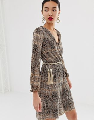 Image 1 of River Island wrap dress in snake print