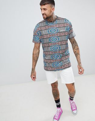 Roadies of 66 Oversized T-Shirt in Aztec Print