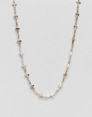 Rock 'N' Rose - Collier avec maillons chaîne et croix en plaqué or