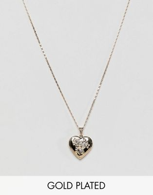 Rock 'N' Rose gold plated heart locket necklace