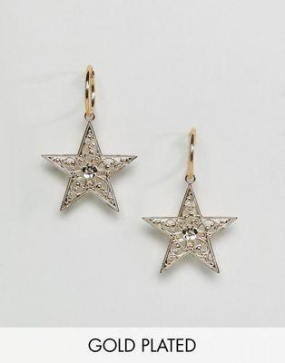 Rock 'N' Rose - Orecchini a cerchio con ciondolo a stella placcati oro