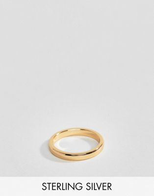 Rock 'N' Rose sterling silver gold plated simple band ring