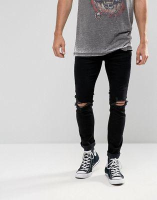 Rolla's – Stinger – Svarta super skinny jeans med revor på knäna