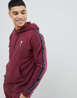 Rose London Hoodie In Burgundy With Side Stripes
