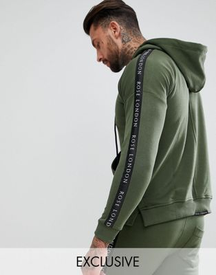 Rose London Hoodie In Khaki With Side Stripes Exclusive To ASOS