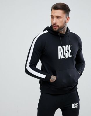 Rose London Logo Muscle Hoodie With Side Stripe