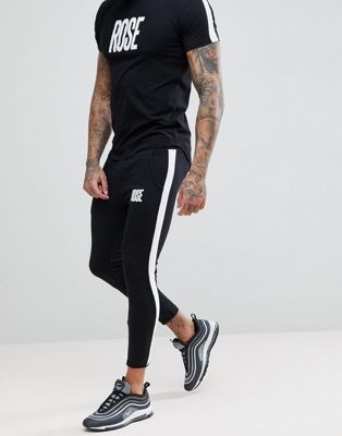 Rose London Logo Skinny Joggers With Side Stripes
