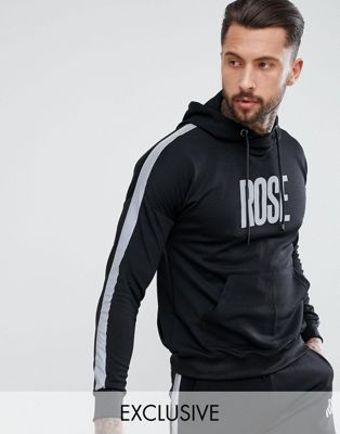 Rose London Track Hoodie In Black With Reflective Stripe Exclusive To ASOS