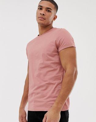 Розовая футболка с круглым вырезом и отворотами на рукавах ASOS DESIGN