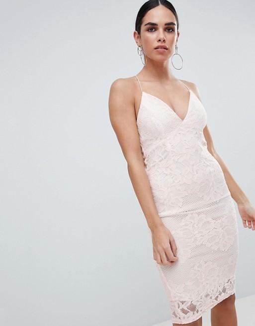 Изображение 1 из Розовое кружевное облегающее платье с глубоким вырезом спереди Ax Paris