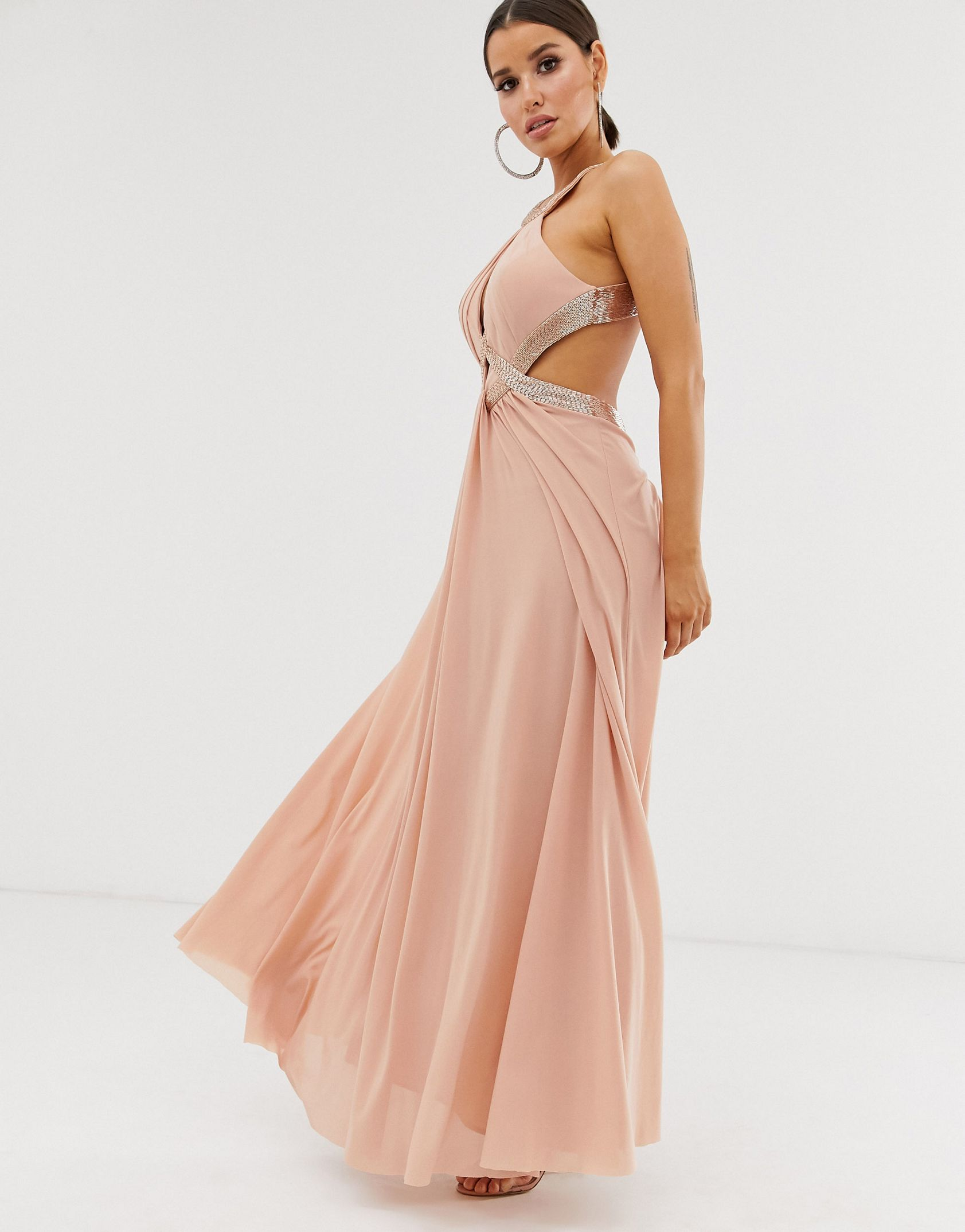 Forever Unique Exclusive embellished maxi dress with draped front in blush -  Price Checker