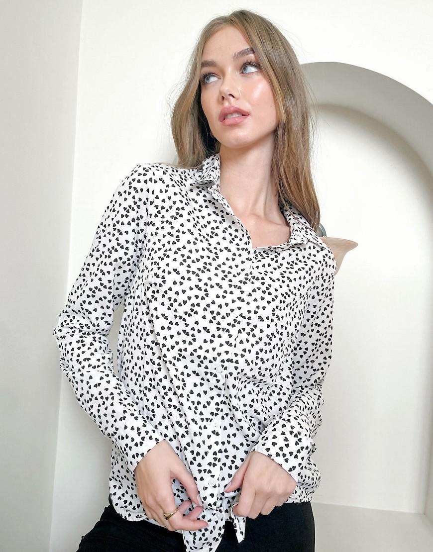 Рубашка кремового цвета с принтом сердечек Brave Soul-Кремовый