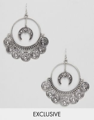 Sacred Hawk coin drop hoop earrings