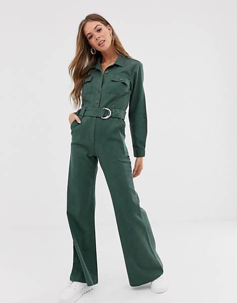 Sacred Hawk denim boilersuit with waist belt