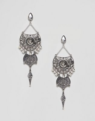 Sacred Hawk Faux Pearl Drop Earrings