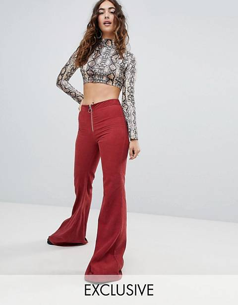 Sacred Hawk high waisted flared pants in cord