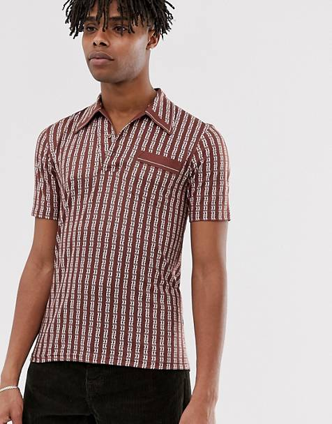 Sacred Hawk open neck polo shirt in brown stripe