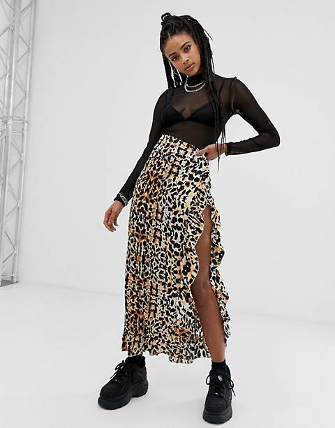 sacred hawk satin maxi skirt with thigh split in leopard