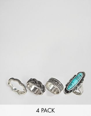 Sacred Hawk semi precious ring multipack