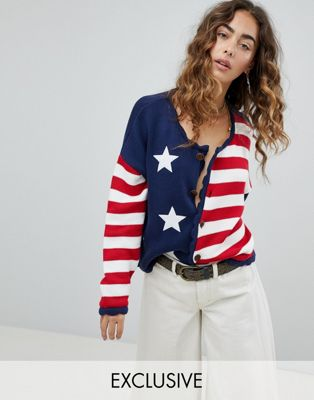 Sacred Hawk Slouchy Knitted Cardigan In Stars And Stripes