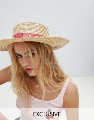 Sacred Hawk Straw Boater Hat With Studded Trim