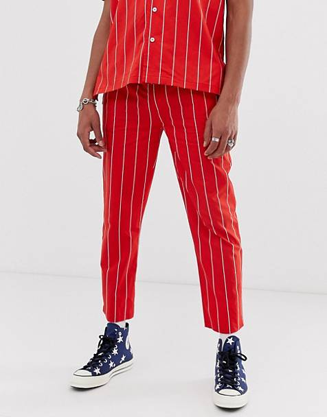 Sacred Hawk two-piece relaxed fit pants in red stripe