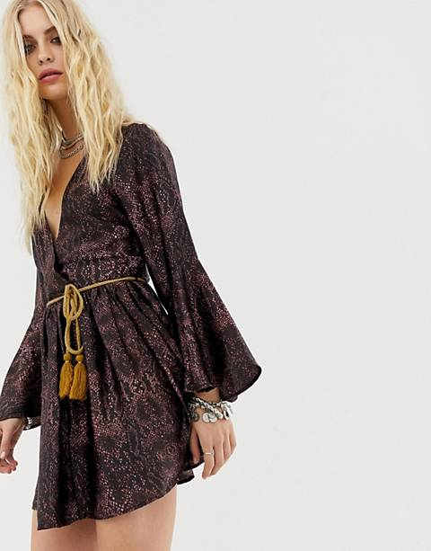Sacred Hawk wrap dress in snake with cord belt