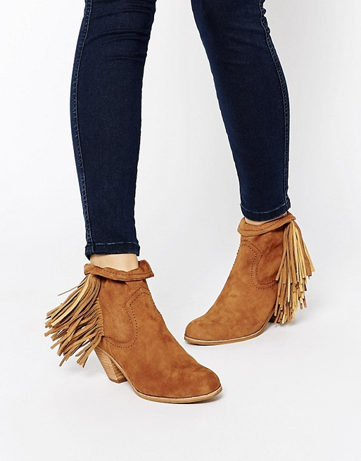 2ce5fe1009362 Sam Edelman Louie Tan Fringed Ankle Boots