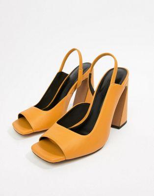 Sandalias de tacón cuadrado de cuero Hinton de ASOS DESIGN Premium