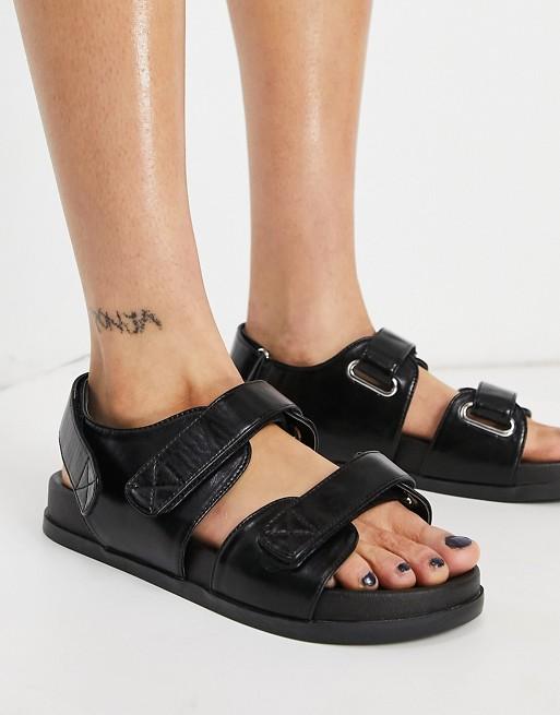 Sandalias negras de estilo deportivo Factually de ASOS DESIGN