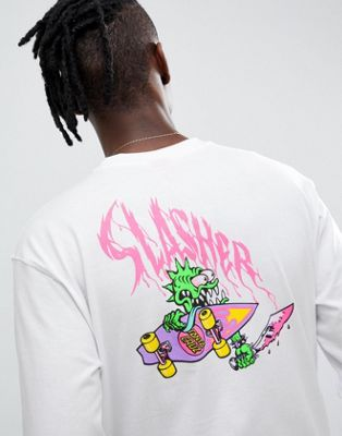 Santa Cruz Slasher long sleeve t-shirt with back print in white