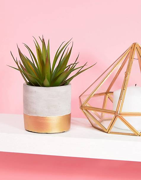 Sass & Belle Concrete and Gold Planter