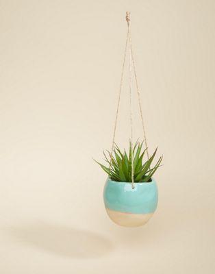 Sass & Belle - Pot suspendu avec effet enduis sur le dessus - Turquoise